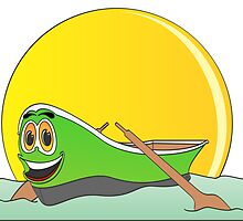 Green Row Boat Cartoon by Graphxpro