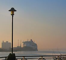 The Queen Mary 2 on a misty morning in Southampton. by ronsaunders47