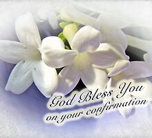God Bless You on Your Confirmation Floral Greeting Card by MotherNature