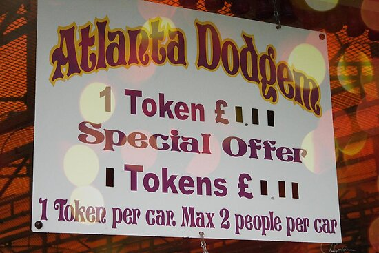Dodgem token sign by Roxy J