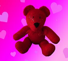 Knitted Red Bear by mrsmcvitty