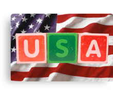 usa and flag in toy block letters Canvas Print
