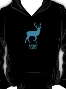 Deer has a sweet rack - blue - funny graphic illustration with text T-Shirt