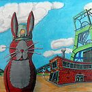 349 - COAL MINER BUNNY - DAVE EDWARDS - COLOURED PENCILS & INK - 2012 by BLYTHART