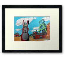 349 - COAL MINER BUNNY - DAVE EDWARDS - COLOURED PENCILS & INK - 2012 Framed Print
