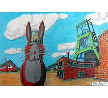 349 - COAL MINER BUNNY - DAVE EDWARDS - COLOURED PENCILS & INK - 2012 Photographic Print