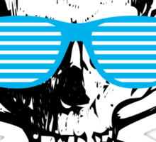Cool white skull with cyan sunglasses - funny graphic Sticker