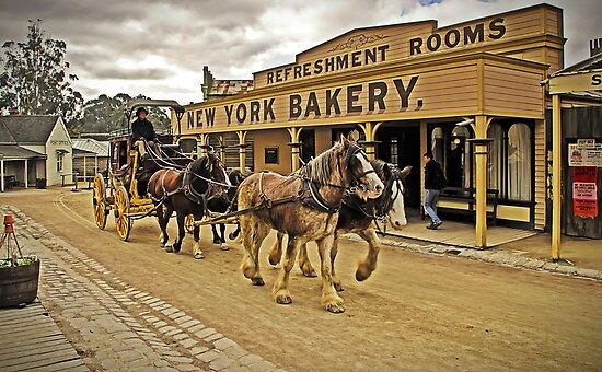 Coach passing New York Bakery - Main Street, Sovereign Hill by TonyCrehan