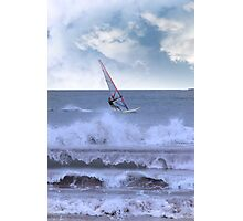 windsurfer windsurfing in a storm Photographic Print