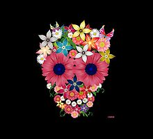 Skull Flowers - black by WAMTEES