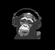 DJ MONKEY - black by WAMTEES
