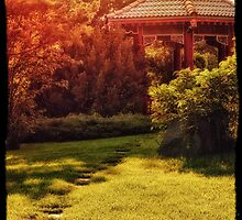 Golden Hour Pagoda by Bendinglife