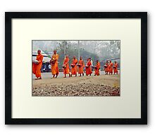 Morning monks line up. Framed Print