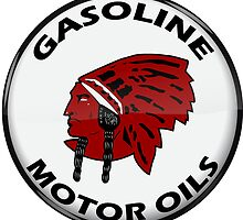 Red Indian Gasoline vintage sign reproduction crystal vers. by htrdesigns
