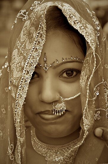 Varanasi Bride in Sepia by Valerie Rosen