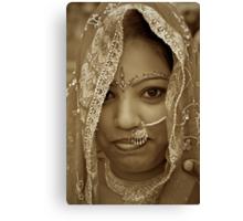 Varanasi Bride in Sepia Canvas Print