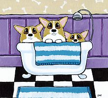 Corgi Bath Time by Lisa Marie Robinson