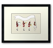 Marching Band with Blank Banner Framed Print