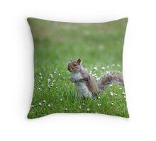 Squirrel in grass Throw Pillow