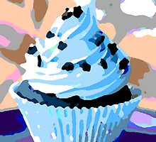 Chocolate Cupcakes with Blue Buttercream by taiche