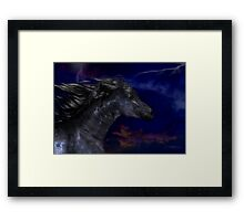 The Dark .. a stallions birth Framed Print