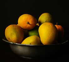 Mangoes in Pewter Bowl by Gilberte