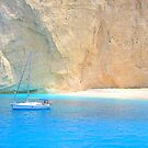 Boat, Beach and Cliffs - Navagio by Honor Kyne