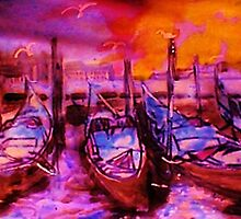 The Venice  Gondolas, watercolor by Anna  Lewis