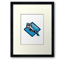 Scuba Diver Diving Retro Framed Print