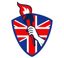 Hand Holding Flaming Torch British Flag Shield by patrimonio