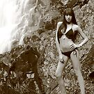 Renee at the falls in sepia by Glynn Jackson