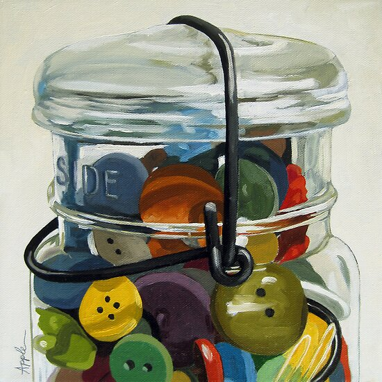 Old Button Jar - still life oil painting by LindaAppleArt