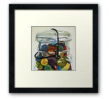 Old Button Jar - still life oil painting Framed Print
