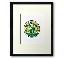 Farmer Gardener With Garden Hoe Cabbage Framed Print