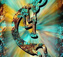 Kokopelli Turquoise and Gold by Vicki Pelham