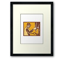 Factory Worker Operator With Drill Press Retro Framed Print