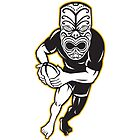 Maori Mask Rugby Player Running With Ball by patrimonio