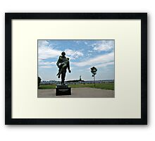 Soldier Monument with Lady Liberty in the Background Framed Print