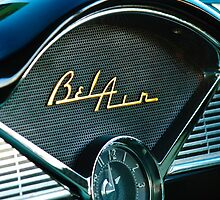 1956 Chevrolet Belair Dashboard Clock Emblem by Jill Reger