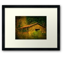 Deep in the woods there sits an abandoned farm Framed Print