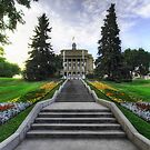 Long Staircase to the Legislature HDR by Myron Watamaniuk
