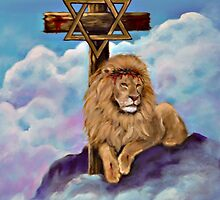Lion of Judah at the Foot of the Cross by Nadine Johnston
