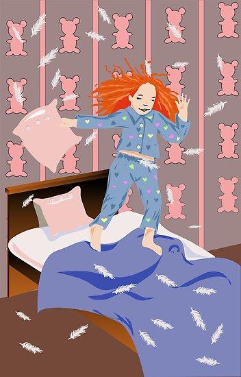 girl jumps on bed by Marishkayu