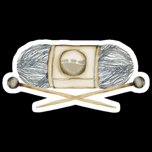 Ball of yarn skein wooden knitting needles by BigMRanch