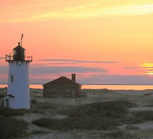 Race Point Lighthouse at Sunset by Roupen  Baker