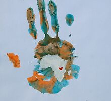 Orange and Teal Handprint by The Street Child Project
