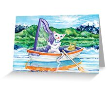 Miss Kitty and her harp Greeting Card