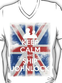 KEEP CALM and Ship Johnlock - UJ - White T-Shirt