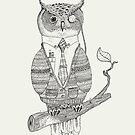 Owl with cardigan & monocle by kingslip