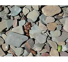TWO MEDICINE LAKE BEACH PEBBLES - GLACIER NATIONAL PARK Photographic Print